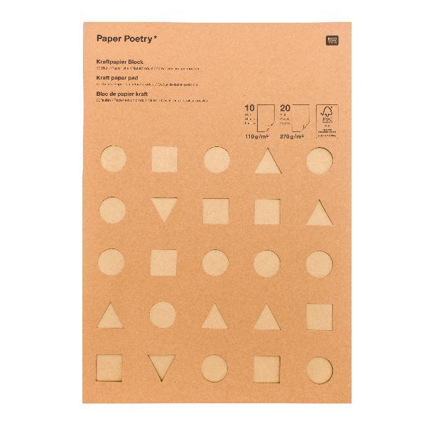 Rico Design Kraftpapierblock MIX DIN A4 30 Blatt