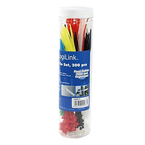 LogiLink Kabelbinder-Set, sortiert, Nylon, Inhalt: 200 S...