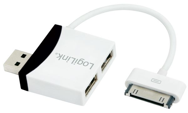 LogiLink USB 2.0 Hub, 2 Port + Apple Dock Kabel,weiß/sch...