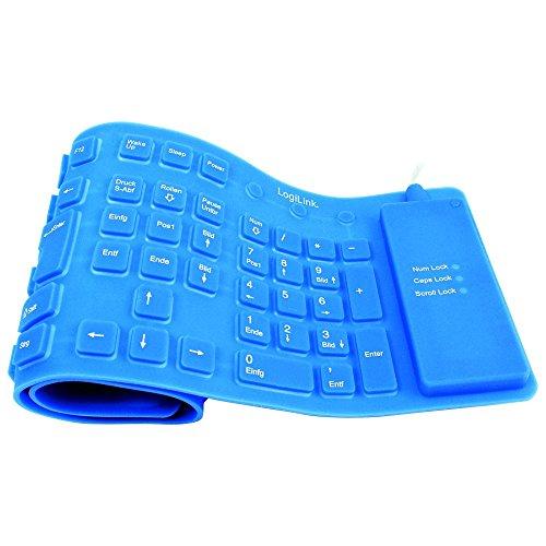 LogiLink Flexible Silikon-Tastatur, kabelgebunden, blau