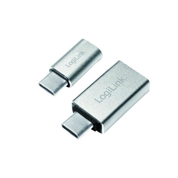 LogiLink USB-C Adapter-Set, 2-teilig, silber