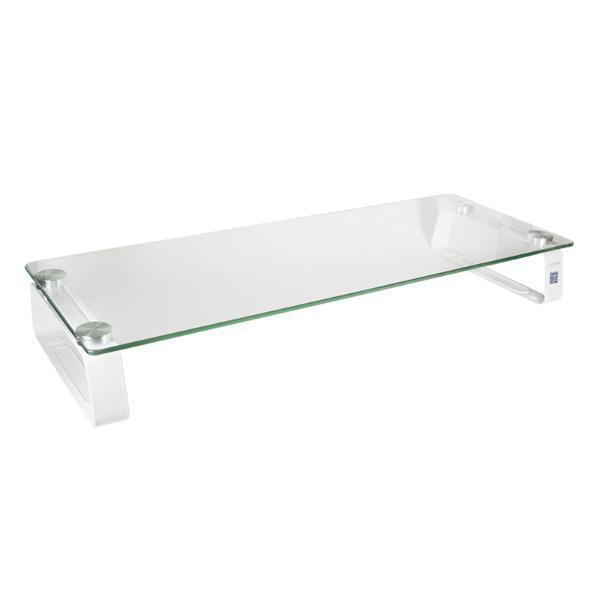 LogiLink Monitorständer, Stahl/Glas, weißes Gestell