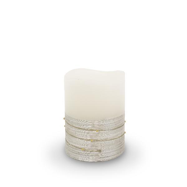 BestSeason LED Wachskerze silber weiss 10x7,5cm SA187