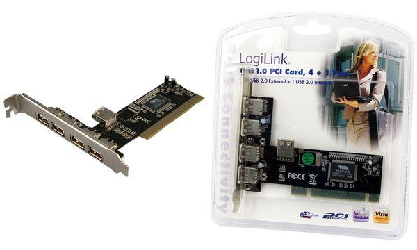 LogiLink USB 2.0 PCI Karte, 4 + 1 Port, VIA Chipsatz