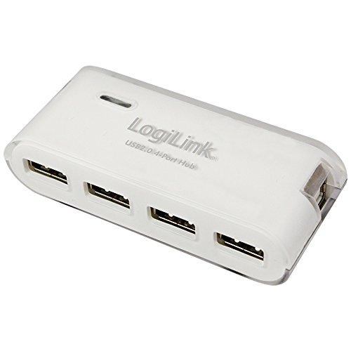 LogiLink USB 2.0 Hub mit Netzteil, 4 Port, weiß