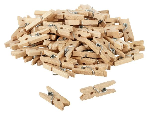 80x itenga Holz Deko Klammern 2,5cm