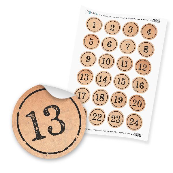 Zahlensticker Z11 1-24 braun / natur / schwarz Stempeloptik