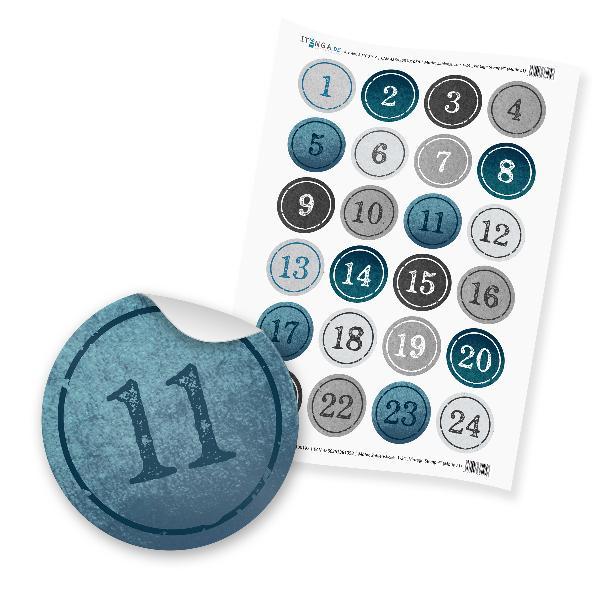 Zahlensticker Z01 1-24 StempelDesign / Vintage blau hell...