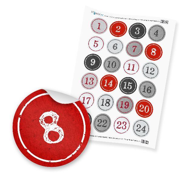 Zahlensticker Z03 1-24 StempelDesign / Vintage rot grau ...