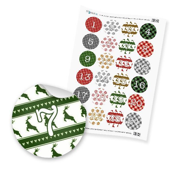 Zahlensticker Z06 1-24 Weihnachten  grün rot weiß gold
