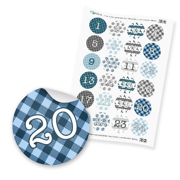 Zahlensticker Z05 1-24 Weihanchten blau hellblau grau si...