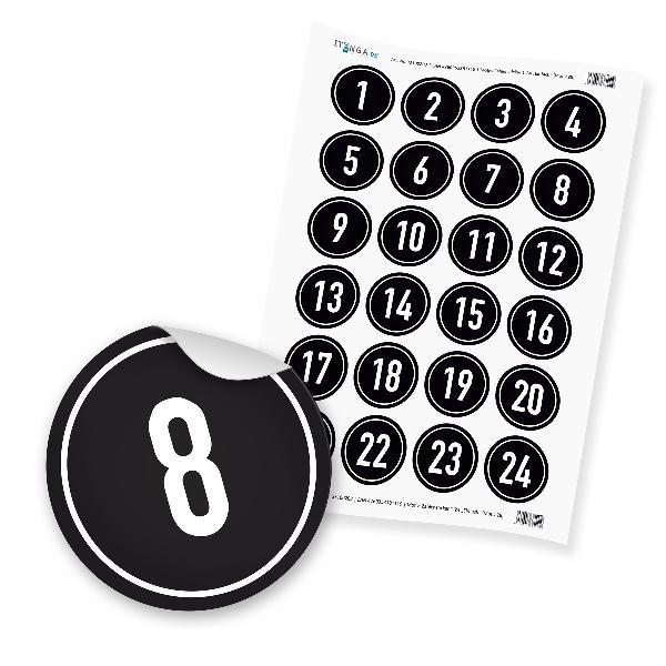 Zahlensticker Z08 1-24 schwarz weiß Hintergrund schwarz ...