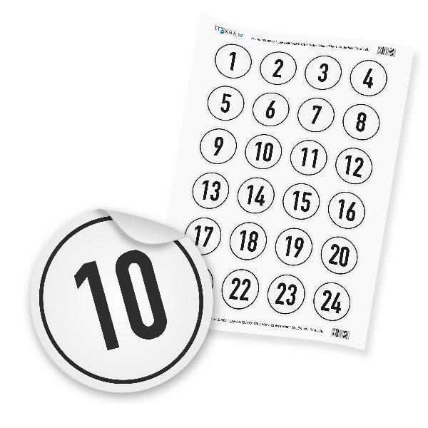 Zahlensticker Z09 1-24 Zahl schwarz