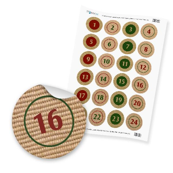 Zahlensticker Z10 1-24 Design Jute  grün rot