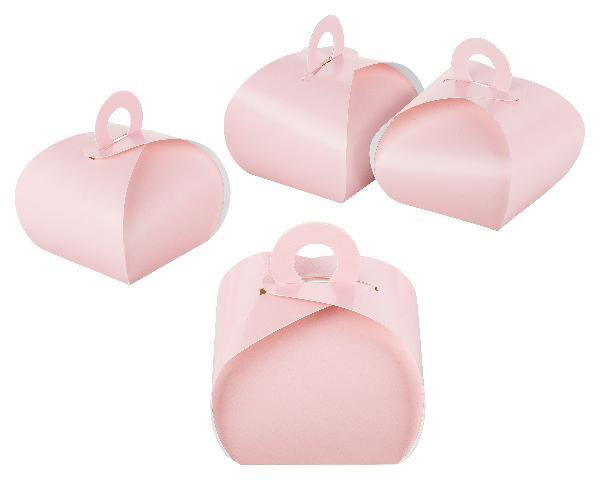 50x Box mit Griff rosa aus Karton (Gastschenk, Hochzeit,...