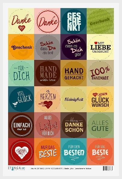 24x Sticker MIX verschiedene Motive 4cm Geschenk Aufkleb...
