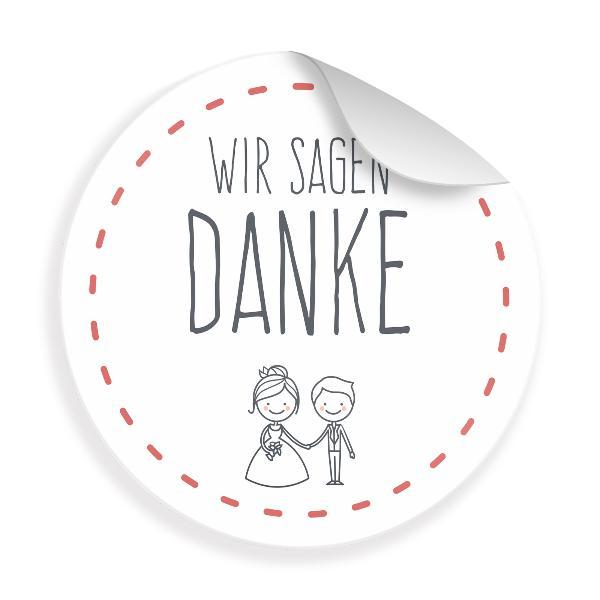 24x Sticker Wir sagen Danke (Motiv 27) 4cm Geschenk Aufk...