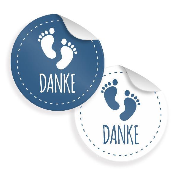24x Sticker Danke Fußabdrücke (Motiv 29) 4cm Geschenk Au...