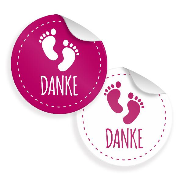 24x Sticker Danke Fußabdrücke(Motiv 30) 4cm Geschenk Auf...