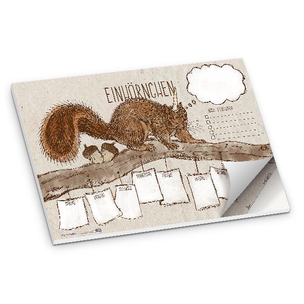 itenga Schreibtischunterlage Einhörnchen DIN A2 50 Blatt