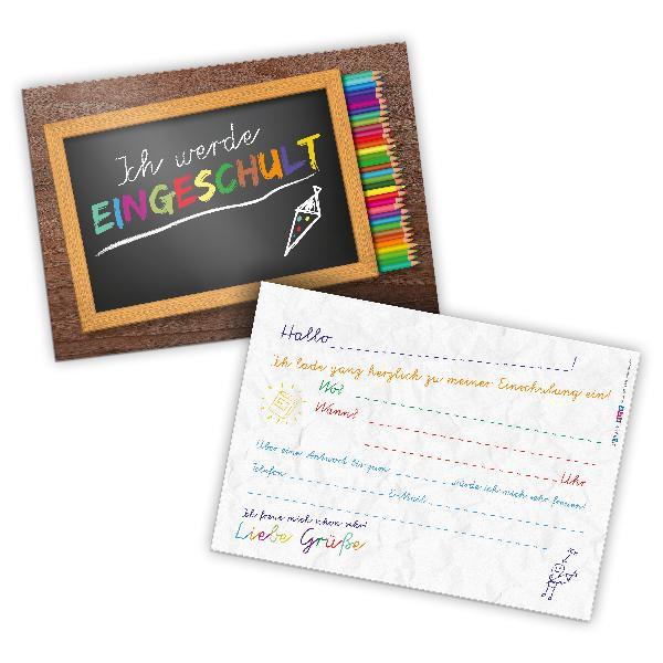 itenga 12x Einladungskarten Schulanfang Einschulung A6
