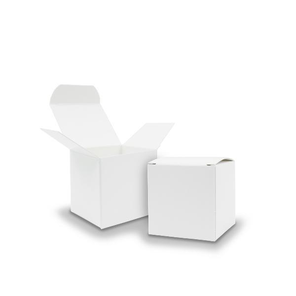 50x itenga Würfelbox aus Karton 5x5cm weiß Gastgeschenk