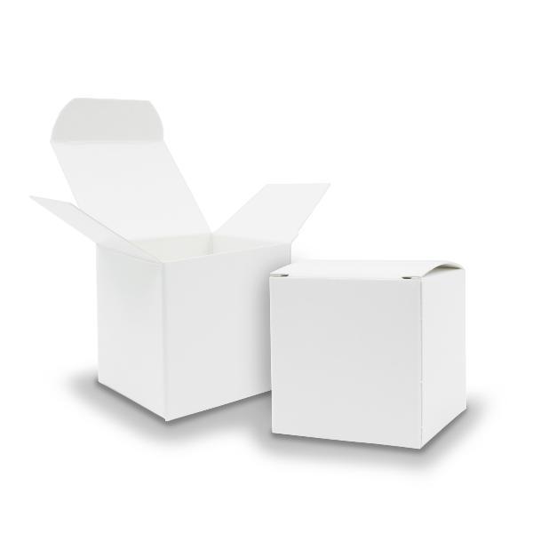 50x itenga Würfelbox aus Karton 6,5x6,5cm weiß Gastgeschenk