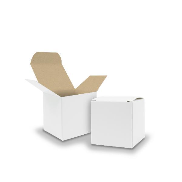 50x itenga Würfelbox KraftKarton 5x5cm außen weiß innen ...
