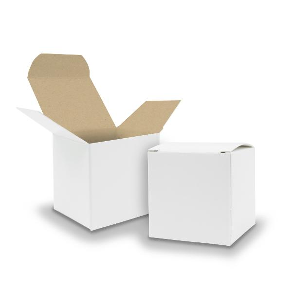 25x itenga Würfelbox KraftKarton 6,5x6,5cm außen weiß in...