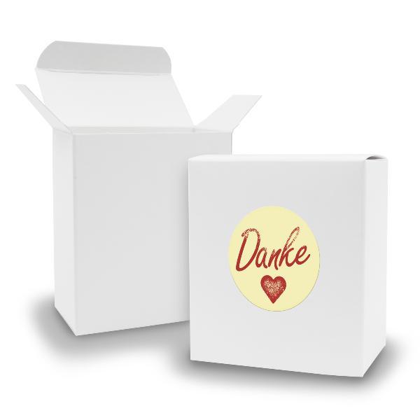 SET DANKE (Motiv1) 24xFaltschachtel Quader weiß  + Sticker