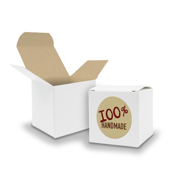 SET 100% Handmade (Motiv12) 24x Faltschachtel Würfel 6,5...