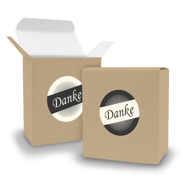 SET DANKE (Motiv36) 24x Faltschachtel Quader BRAUN + Sti...