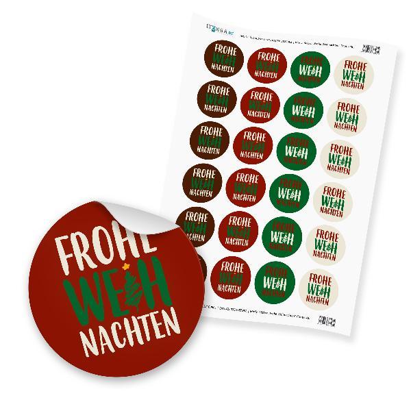 """24 x itenga Sticker """"Frohe Weihnachten"""" (Motiv 48)"""