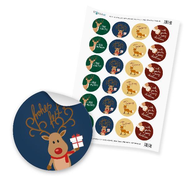 """24 x itenga Sticker """"Weihnachten Tiere"""" (Motiv 49)"""