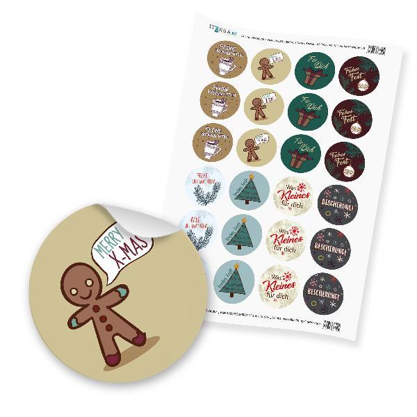 """24 x itenga Sticker """"Weihnachten Mix Vintage"""" (Motiv 50)"""