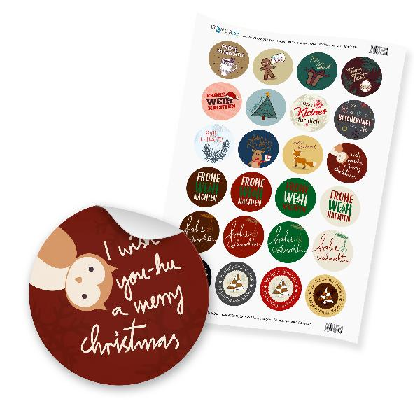 """24 x Sticker """"Frohe Weihnachten Mix"""" (Motiv 51)"""