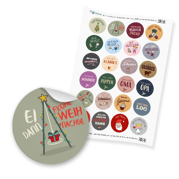 """24 x itenga Sticker """"Weihnachten Mix Saarland"""" (Motiv 52)"""