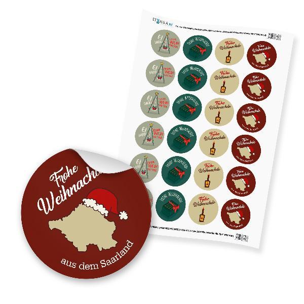 """24 x itenga Sticker """"Frohe Weihnachten Saarländisch"""" (Mo..."""