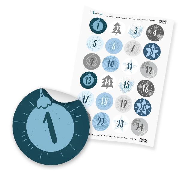 Zahlensticker Z16 Adventskalenderzahlen 1-24 Klassisch /...