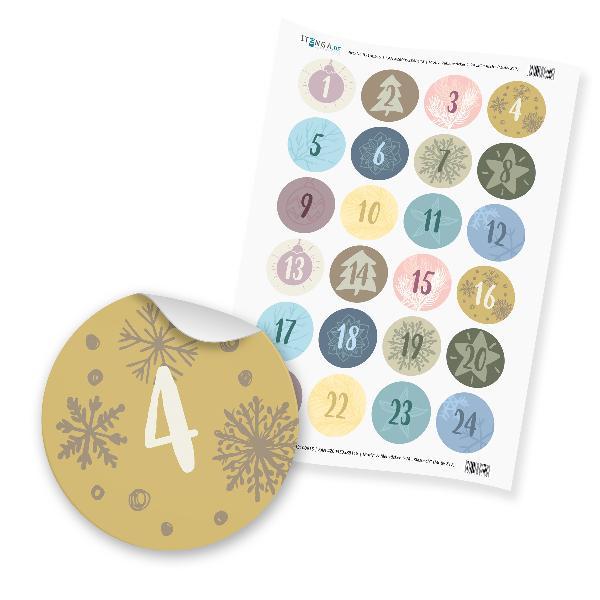 Zahlensticker Z17 Adventskalenderzahlen 1-24 Klassisch /...