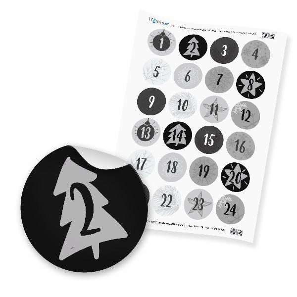 Zahlensticker Z18 Adventskalenderzahlen 1-24 Klassisch /...