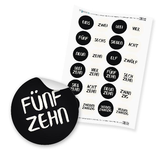 Zahlensticker Z23 Adventskalenderzahlen 1-24 Zahlen gesc...