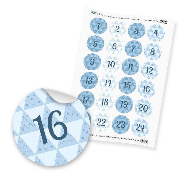 Zahlensticker Z26 Adventskalenderzahlen 1-24 Retro 80s 9...