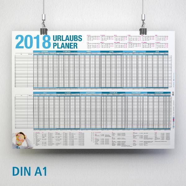 itenga Urlaubsplaner 2018 Wandkalender DIN A1 (84,1 x59,...