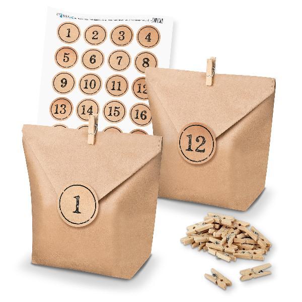 Adventskalender Set 11 Geschenktüten + Klammern + Sticker