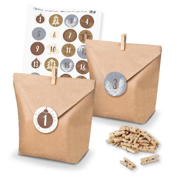 Adventskalender Set 15 Geschenktüten + Klammern + Sticker
