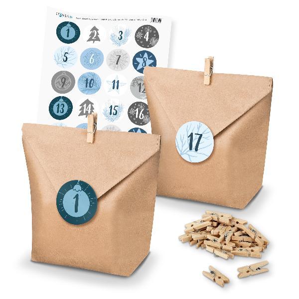 Adventskalender Set 16 Geschenktüten + Klammern + Sticker