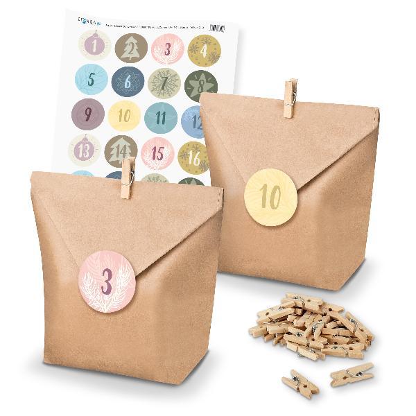 Adventskalender Set 17 Geschenktüten + Klammern + Sticker