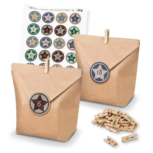 Adventskalender Set 20 Geschenktüten + Klammern + Sticker