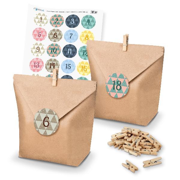 Adventskalender Set 24 Geschenktüten + Klammern + Sticker